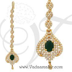 American Diamond and Emerald Stone Maang Tikka Chutti Indian Fore Head Bridal Jewellery