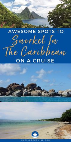 Are you taking a Caribbean cruise or otherwise traveling to the Caribbean? Then you don't want to miss the opportunity to snorkel in these crystal blue waters. Here we share our guide to the top 10 spots to snorkel in the Caribbean. No matter your cruise line (Carnival, Royal Caribbean, Princess, etc.), there will be amazing snorkeling. From Cayo Diablo National Park to Tobago Cays just to name a few. Don't forget your waterproof camera so you can share the experience with friends & family! Southern Caribbean, Caribbean Cruise, Royal Caribbean, Waterproof Camera, Amazing Destinations, Snorkeling, Sailing, Carnival, National Parks