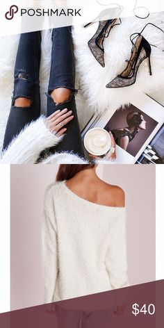 Fuzzy Wide Neck Sweater This sweater is so comfy! It's an ivory color. Fits best as an off the shoulder look. It's a looser fit. Worn a few times. NO TRADES OR PAYPAL. Missguided Sweaters Crew & Scoop Necks