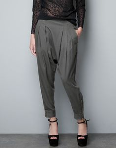 Okay, I'm misusing Pinterest - WHAT IS THE DEAL WITH HAREM PANTS?! I so hoped this trend was dead, but when you find them at Zara...