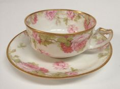 Beautiful Haviland LIMOGES Pink Roses Cup and Saucer Set   #HavilandLimoges :):