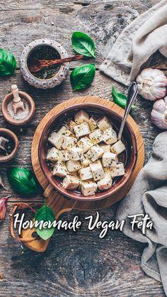Vegan Apps, Vegan Foods, Vegan Snacks, Vegan Feta Cheese, Feta Cheese Recipes, Healthy Crockpot Recipes, Vegetarian Recipes, Cooking Recipes, Tasty Videos