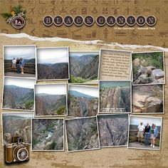 yellowstone scrapbook page Digital Scrapbooking Layouts, Scrapbook Designs, Scrapbook Sketches, Scrapbook Page Layouts, Scrapbook Supplies, Scrapbook Cards, Travel Scrapbook Pages, Vacation Scrapbook, Travel Album