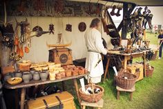Pappy just needs some cow horns and a mountain man dress/kilt and he'll be selling like crazy ❄ The Oaken Hammer ❄ Medieval Fair, Medieval Market, Medieval Party, Medieval World, Medieval Town, Market Tent, Viking Decor, Viking Reenactment, Viking Culture
