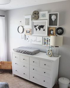 MURAL ABOVE CHANGING TABLE: 2016 Nursery Trend: Inspired By… (nurseries inspired by travel & adventure). Parents love a cool theme to set the design tone in nursery. This year, travel and adventure stand out as the nursery theme of the year. Baby Bedroom, Baby Boy Rooms, Baby Boy Nurseries, Baby Room Decor, Nursery Room, Nursery Dresser, Master Bedroom, Ikea Nursery, White Bedroom