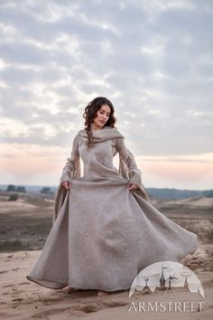 "Fantasy linen robe ""Wanderer"" with ample hood, wide floor-length skirt and volume sleeves.  Available for worldwide shipping."