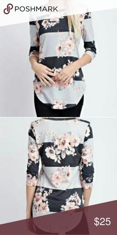 Floral Stripe Top Description: French terry stripe floral print 3/4 sleeves top | Made in: USA Tops Tees - Long Sleeve
