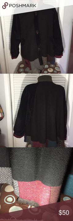 """🌺 Patchwork Cord/ Wool/ Fabric Jacket Lg Unique Jacket that uses different fabrics. Corduroy, wool, fabric n Fleece. Lined. Three Black Flower decorative buttons are on front. No Rips or Stains. Gently Worn. 30""""L x 24"""" B x 26"""" Sleeves. Please ask all questions prior to buying. I bundle Jackets & Coats"""