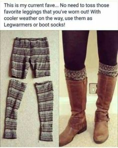 A great use for damaged leggings : super soft boot socks