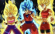 Caulifla, Goku, and Kale