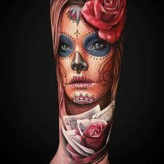 chicano Catrina tattoo Tattoos 3d, Tattoo Henna, Tattoo Pain, Neue Tattoos, Sugar Skull Tattoos, Body Art Tattoos, Girl Tattoos, Tattoos For Women, La Muerte Tattoo