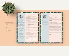 Floral Patern CV-Resume Template *C by Showy68 Template on @creativemarket