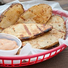 Grilled Potatoes and BBQ dipping sauce-- I don't have an outdoor grill, but they'd be easy to make in my grill pan or on the George Foreman grill.