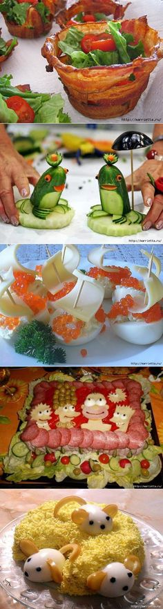Ideas Food Art For Kids Learning Food Crafts, Diy Food, Food Design, Design Design, Food Art For Kids, Food Carving, Vegetable Carving, Weird Food, Crazy Food