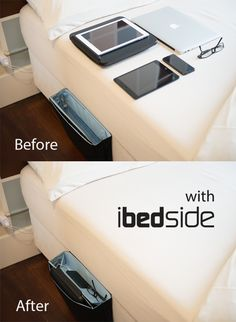 Upgrade your bedroom. iBedside keeps you connected and organized in style. Keep your devices within arms reach and ready to recharge while you're in bed.