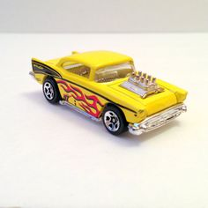 Vintage Hot Wheels Yellow Hot Rod Red Flames Toy Car