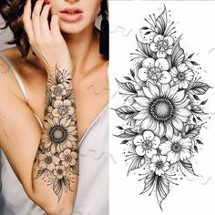 Tattoos For Women Half Sleeve, Foot Tattoos For Women, Shoulder Tattoos For Women, Tattoos For Women Flowers, Sleeve Tattoo Women, Animal Tattoos For Women, Cool Tattoos For Girls, Sunflower Tattoo Sleeve, Sunflower Tattoos
