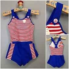 bff5aec4f27 Vtg 50s 60s Nautical Smocked Halter Romper Americana Anchor Sunsuit Swim  nos Vintage Clothing