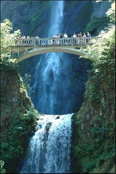 Multnomah Falls - Portland, Oregon ~ Underground springs from Larch Mountain are the year-round source of water for the waterfall, augmented by spring runoff from the mountain's snowpack and rainwater during the other seasons.