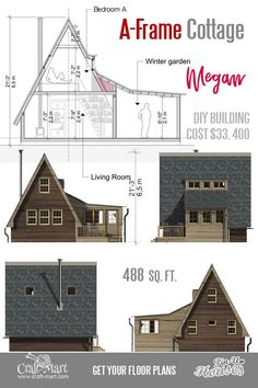 Cute Small Cabin Plans (A-Frame Tiny House Plans, Cottages, Containers) - Craft-Mart The Plan, How To Plan, Small Cabin Plans, Small House Floor Plans, Small Cabins, Building Costs, Building A Tiny House, Building Ideas, A Frame Cabin