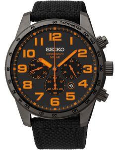 Seiko Mens Solar Chronograph - Black/Orange - Nylon Strap - Black Metal - TiCN