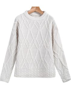 Apricot Long Sleeve Diamond Patterned Knit Sweater pictures