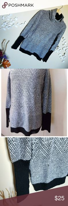🆕🖤Ellen Tracy Sweater🖤 NWT.  Cowl neck sweater with black and white combination colors.  A nice casual wear sweater than can easily be dressed down with jeans etc.  A size M. A+ Ellen Sweaters Cowl & Turtlenecks