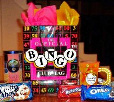 Bingo Gift Bag Gift Birthday Gift Baskets, Birthday Gifts, Bingo, Gift Bags, Flower Arrangements, Birthday Presents, Floral Arrangements, Birthday Favors, Goody Bags