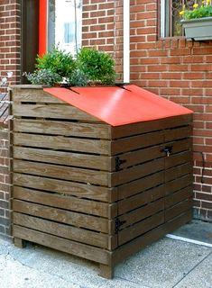 Outdoor Trash Can Holder Outdoor Ideas Trash Can Covers Trash Can Storage Ideas How To Keep Squirrels Out Of Garbage Decorating Tips Diy Outdoor Trash Can Storage Trash Can Storage Outdoor, Garbage Can Storage, Garbage Shed, Outdoor Trash Cans, Patio, Backyard, Trash Can Covers, Outdoor Living, Outdoor Decor