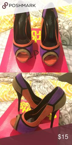 Colorful pump heels Worn once! So sexy on... heels are 5 inches. Colors- beige orange and purple Shoes Heels