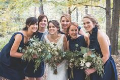 A DIY rustic wedding set in the woods with midnight Navy Alfred Sung bridesmaid dresses. Alfred Sung Bridesmaid Dresses, Navy Blue Bridesmaid Dresses, Designer Bridesmaid Dresses, Bridesmaid Dresses Online, Wedding Dresses, Woodland Wedding, Rustic Wedding, Alternative Wedding, Wedding Sets