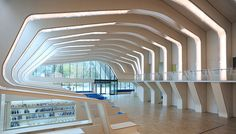 Library design inspired by a whale's skeleton