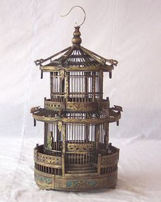 Gorgeous Hand carved and painted oriental style bird cage