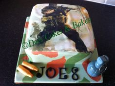 Call of duty cake with edible grenade & bullets