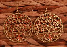 Gold and Coral Filigree Earrings from Southern Jewelry Auctions on Facebook