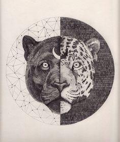 black panther + jaguar artwork