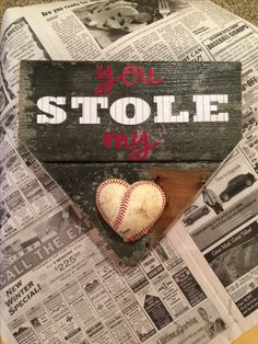 DIY baseball craft •reclaimed wood •card stock •old baseball •modge podge •spray adhesive  •gorilla glue