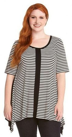 PLUS SIZE BLACK AND WHITE STRIPE FRONT HANDKERCHIEF TOP Classic stripes get refreshed on this short sleeve scoop neck top from Karen Kane. The flowy handkerchief body and stretch knit material ensure unlimited all day comfort and an infinitely flattering fit. #Plus_Size #Black_and_White #Stripes #Fashion #Karen_Kane
