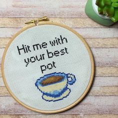 Cross Stitch Pattern - PDF Pattern - Modern Cross Stitch Pattern - Coffee Lovers - Instant Digital Download Modern Cross Stitch Patterns, Pdf Patterns, Coffee Lovers, Digital Pattern, Count, Coin Purse, Colours, Embroidery, Fit