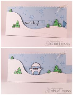 Oh my goodness, the yeti stamp is so cute! I need to check out some of this Lawn Fawn stuff. but this card idea would also be really cute with a snowman! Pop Up Cards, Cute Cards, Diy Cards, Christmas Cards, Spinner Card, Slider Cards, Lawn Fawn Stamps, Interactive Cards, Card Tutorials