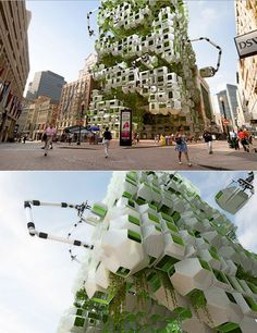 Howeler + Yoon and Squared Design's imaginative proposal for the 32-story Filene's development downtown: a network of algae eco-pods which will turn the entire site into a large bio-fuel reactor. The reactor would serve as a center for energy production, while supporting bio-fuel research by allowing scientists to test the effectiveness of different algae species and perfect methods of fuel extraction.
