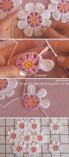 Learn Making Lace Crochet Flower Easily These lace crochet flowers are creative for so many projects. Crocheting flowers is enjoyable and it makes the perfect embellishment for accessories! Crochet Simple, Crochet Diy, Crochet Motif, Crochet Designs, Crochet Crafts, Crochet Stitches, Crochet Projects, Crochet Ideas, Free Crochet Flower Patterns