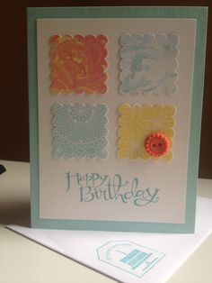 """birthday - Sassy Salutations (pool party base; shimmery white 3-3/4x5"""")- stampin up card"""
