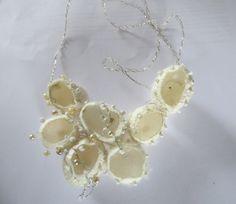 Silk Cocoon Necklace Jewelry art Valentine Mothersday White bride bridesmaids wedding textielfestival by madebymirjam on Etsy