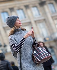 Knit Cape  #streetstyle