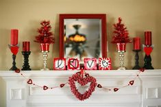 Cute Mantel Idea for Valentines Day