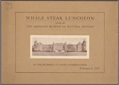 Cover page for Whale Steak Luncheon, from Buttolph Collection at NYPL