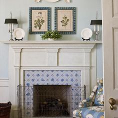 Ordinaire A Ladyu0027s Bedroom Fireplace Is Softened By Floral Delft Surround Tiles U0026  White Moldings By Knight