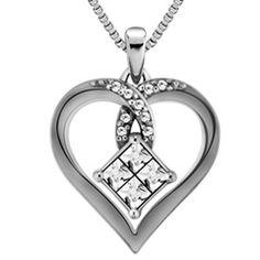 1/5 CT. T.W. Princess-Cut Quad Diamond Heart Pendant in Sterling Silver