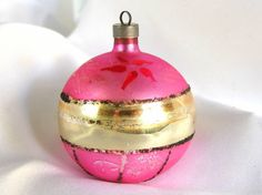 Vintage Christmas Ornament, Hot Pink with Black Mica Ornament